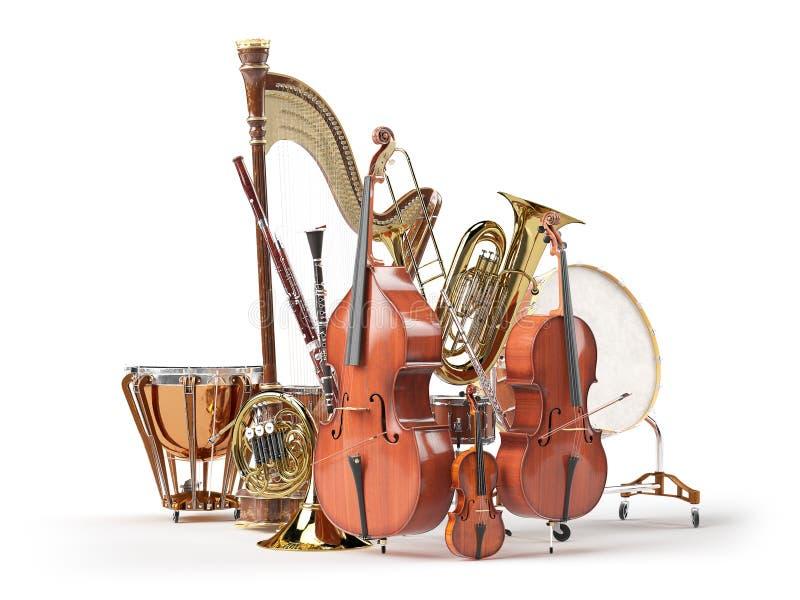 Instrumentos musicales de la orquesta aislados en blanco imagenes de archivo