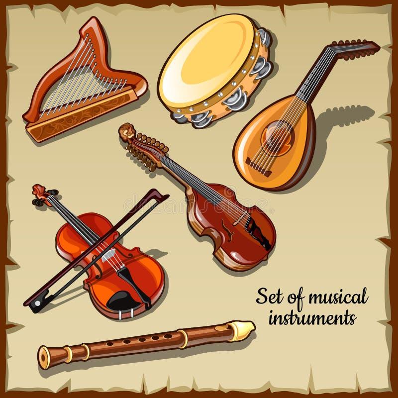 Instrumentos musicales de la secuencia y del viento, seis iconos ilustración del vector