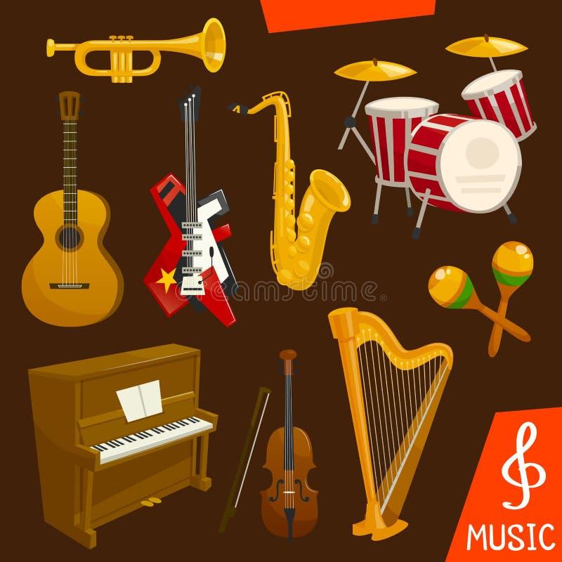 Instrumentos musicales del viento y de las secuencias stock de ilustración