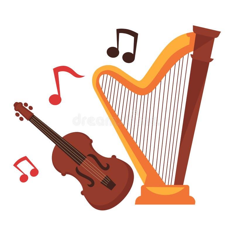 Instrumentos musicales y notas atados alrededor del sistema de la historieta ilustración del vector