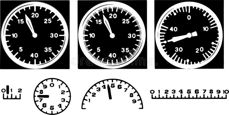 Instrumentos ou velocímetros preto e branco análogos com as setas para a velocidade de medição ilustração royalty free