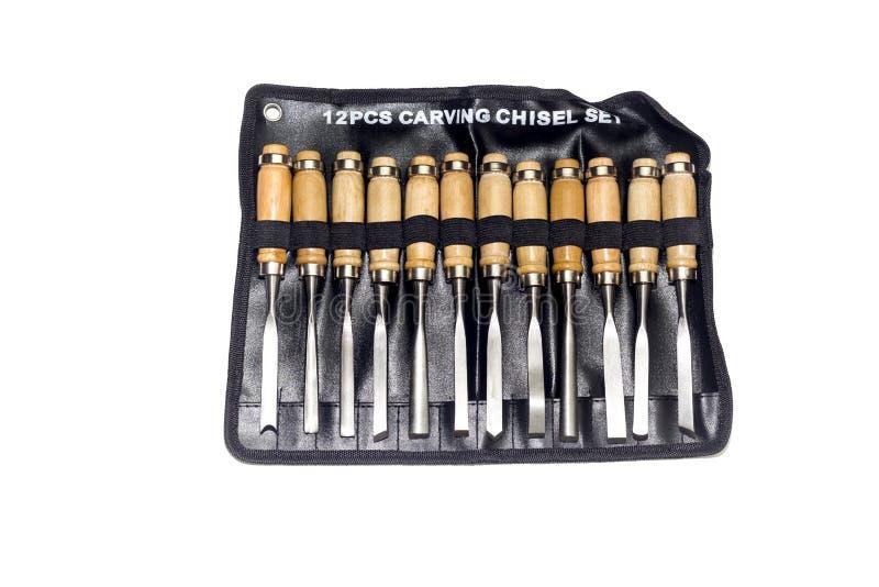 Instrumentos para o close-up de cinzeladura de madeira fotografia de stock