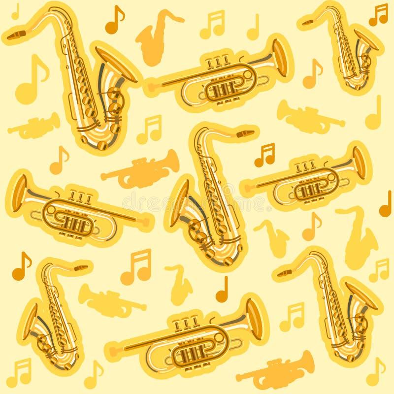 Instrumentos saxof?n de Musicial y modelo del cucurucho ilustración del vector