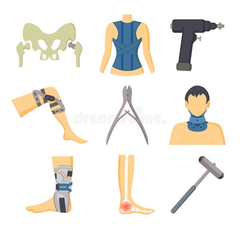 Instrumentos y equipo ortopédicos para la recuperación stock de ilustración