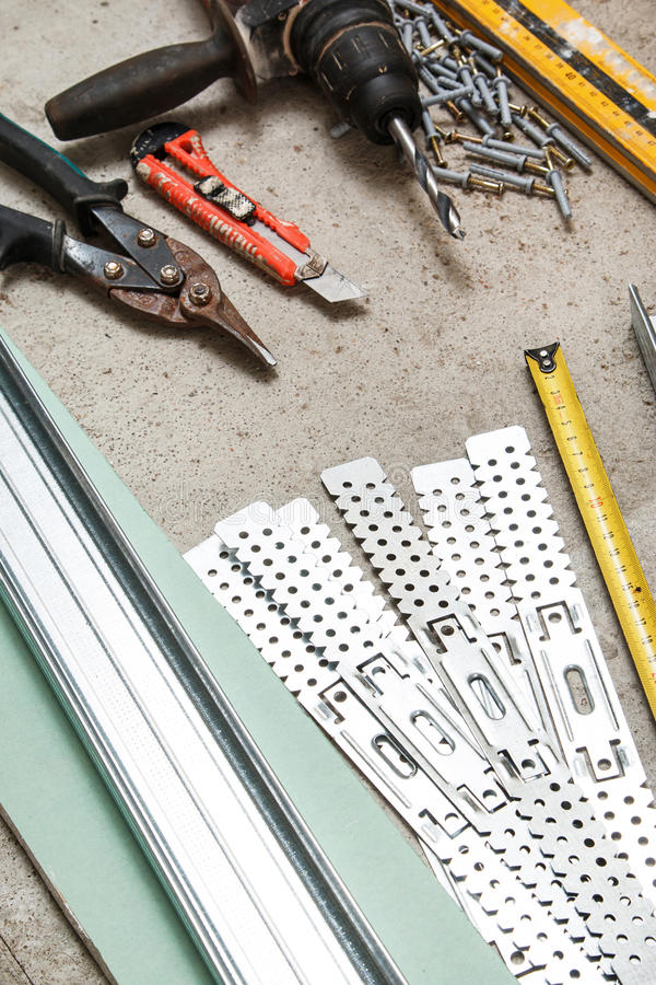 Instruments for build a plasterboard walls royalty free stock image