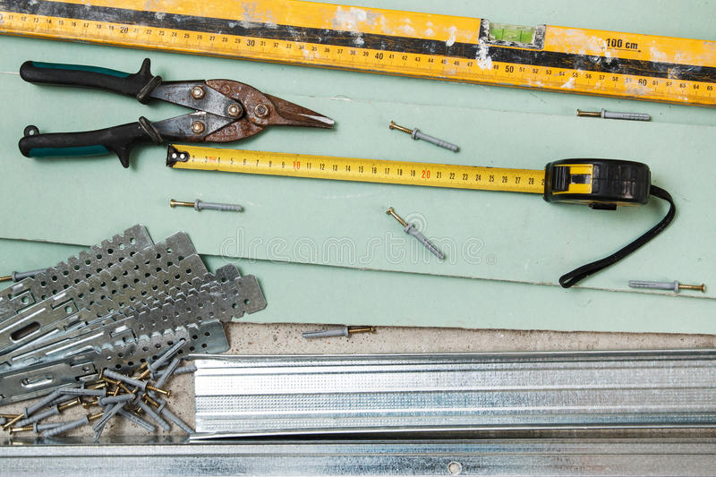 Instruments for build a plasterboard walls stock photo