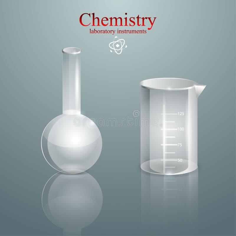 Instruments chimiques de laboratoire, tubes à essai éducation noire de chimie de fond d'isolement plus de médecine illustration stock