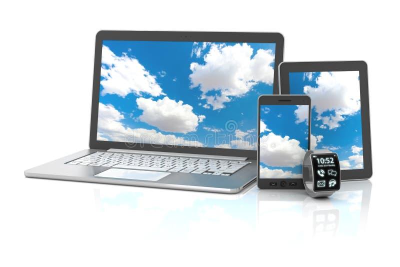 Instruments comprenant le smartphone, smartwatch, numérique illustration libre de droits