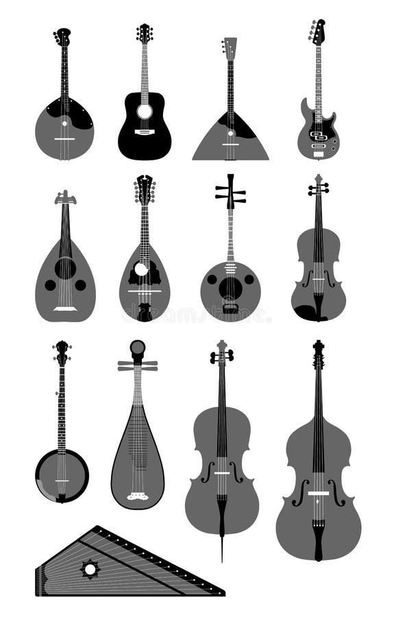 Instruments de chaîne de caractères illustration stock