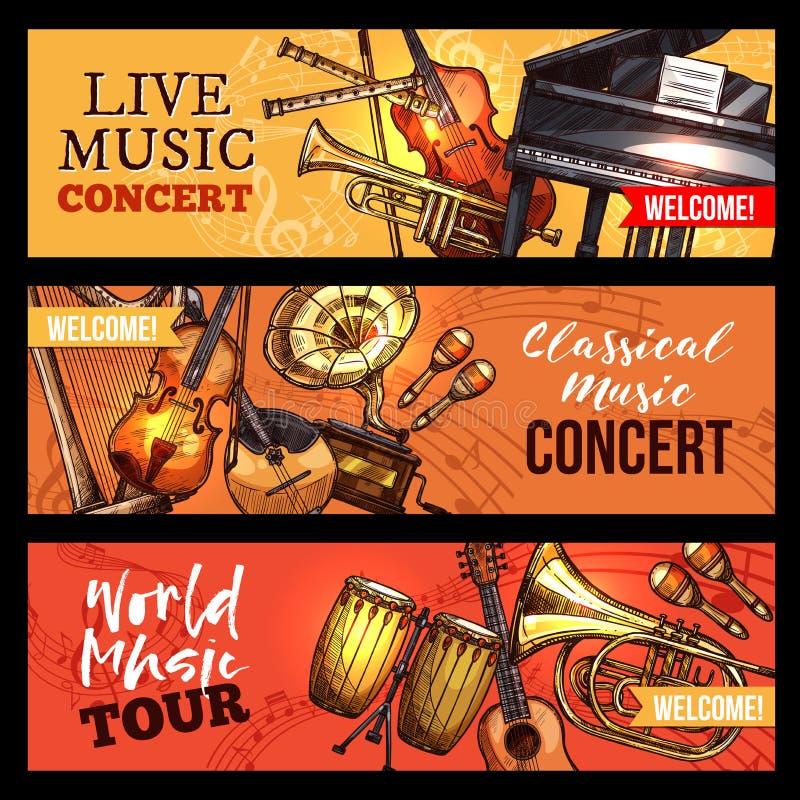 Instruments de croquis de bannières de concert de musique de vecteur illustration de vecteur