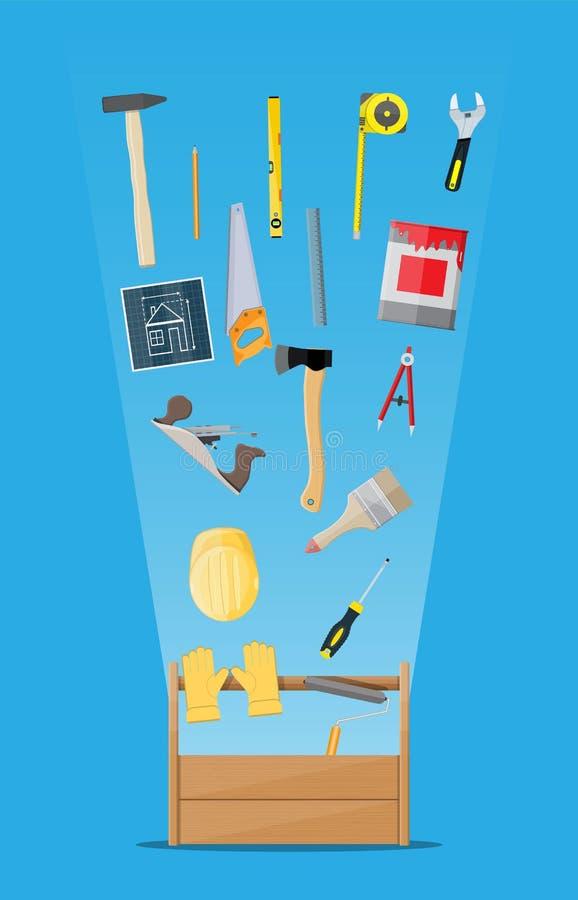 Instruments de menuiserie dans la boîte à outils en bois illustration de vecteur