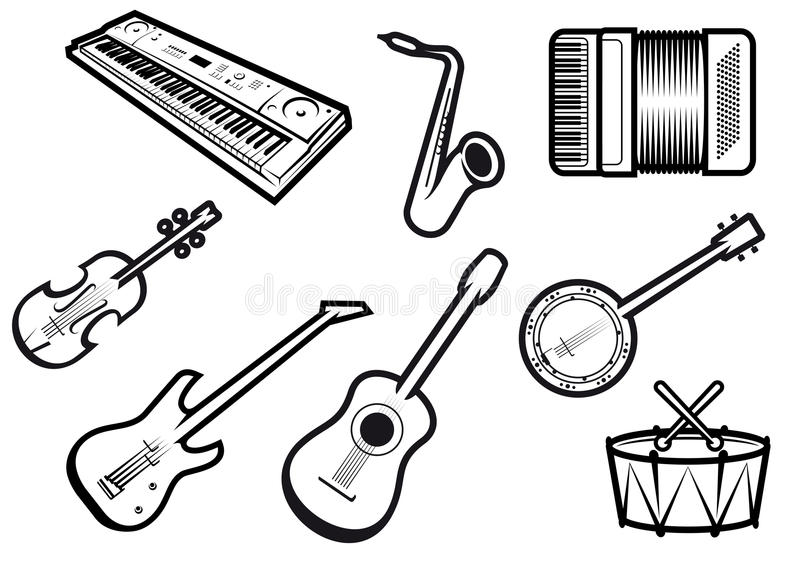 Instruments de musique acoustiques et électriques illustration libre de droits