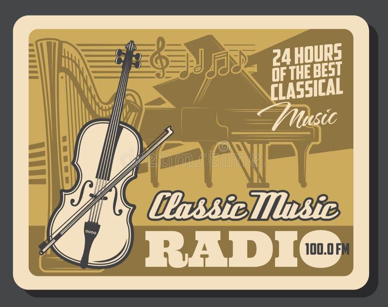 Instruments de musique classiques Radio de musique classique illustration stock