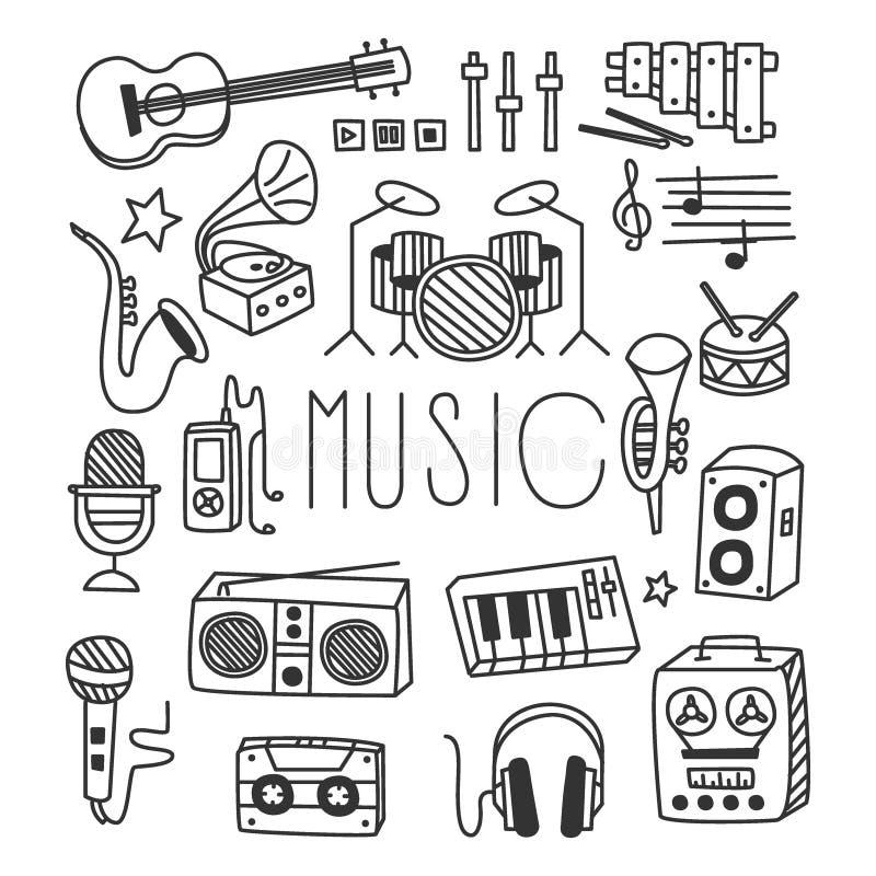 Instruments de musique dans le style tiré par la main Vecteur illustration de vecteur