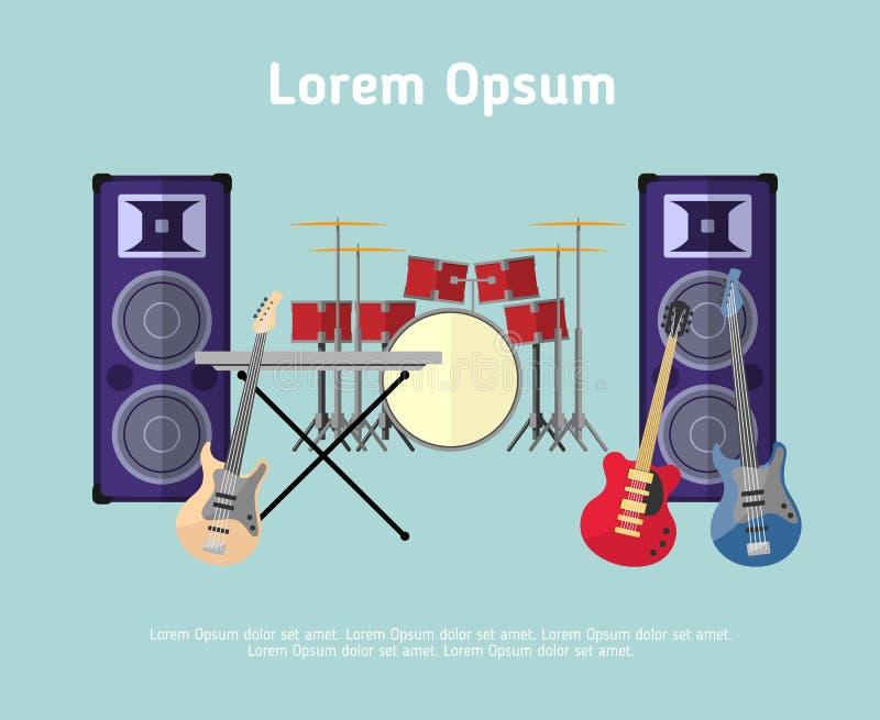 Instruments de musique de groupe de rock dans le style plat illustration stock