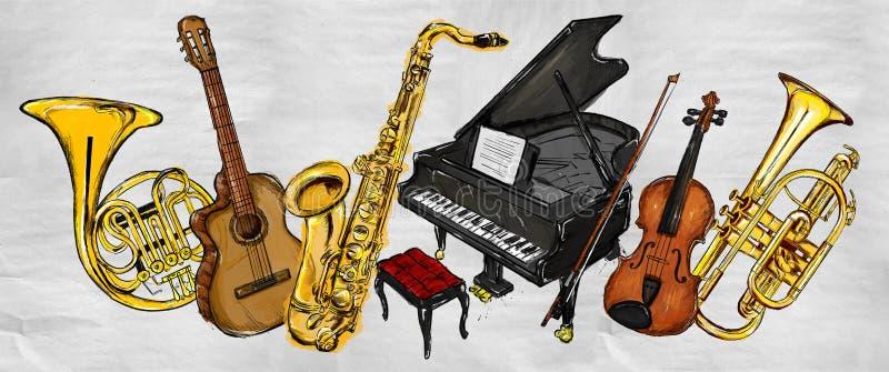 Instruments de musique de peinture illustration de vecteur