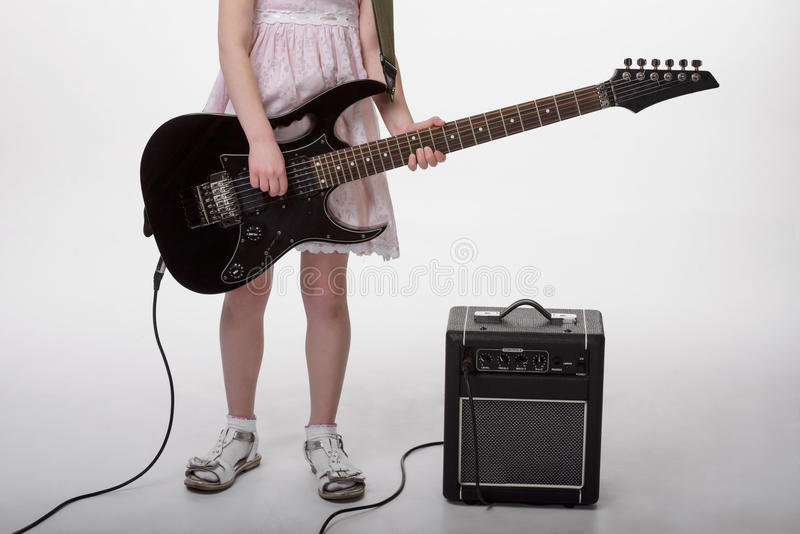 Instruments de musique et son propriétaire image libre de droits