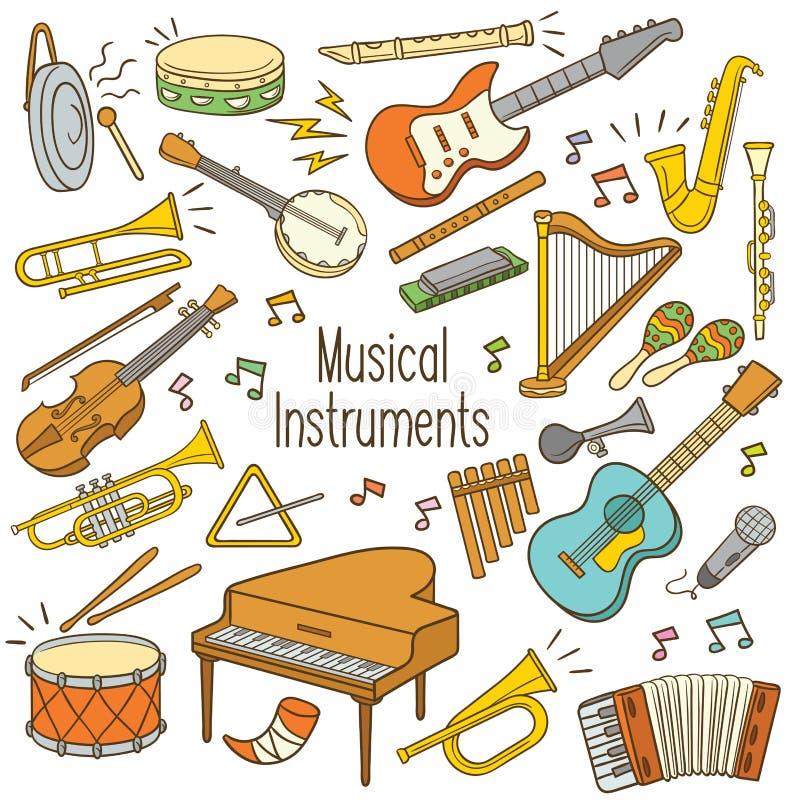 Instruments de musique de griffonnage illustration libre de droits