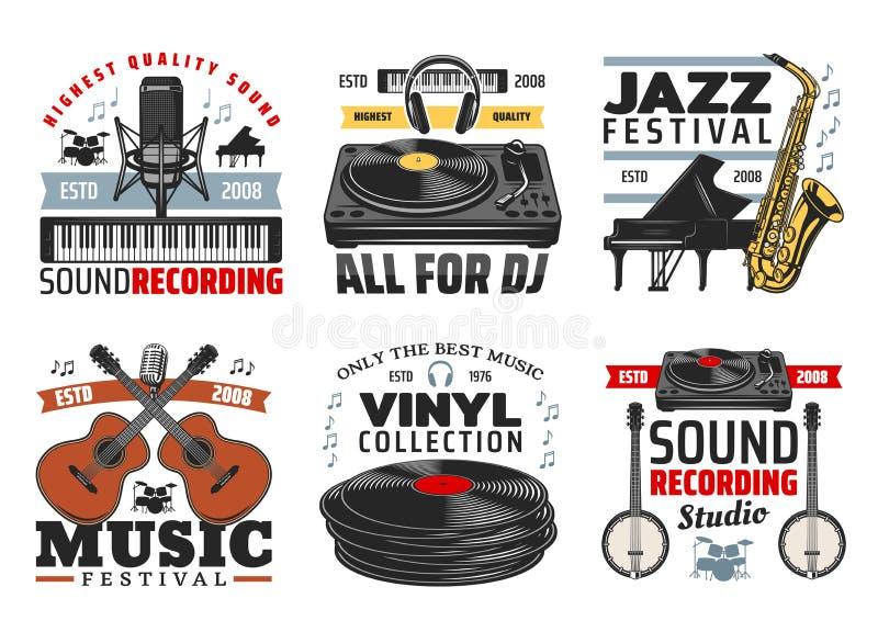 Instruments de musique, icônes de festival de musique de jazz illustration de vecteur