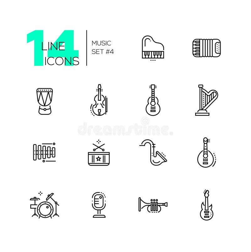 Instruments de musique - ligne icônes réglées illustration libre de droits