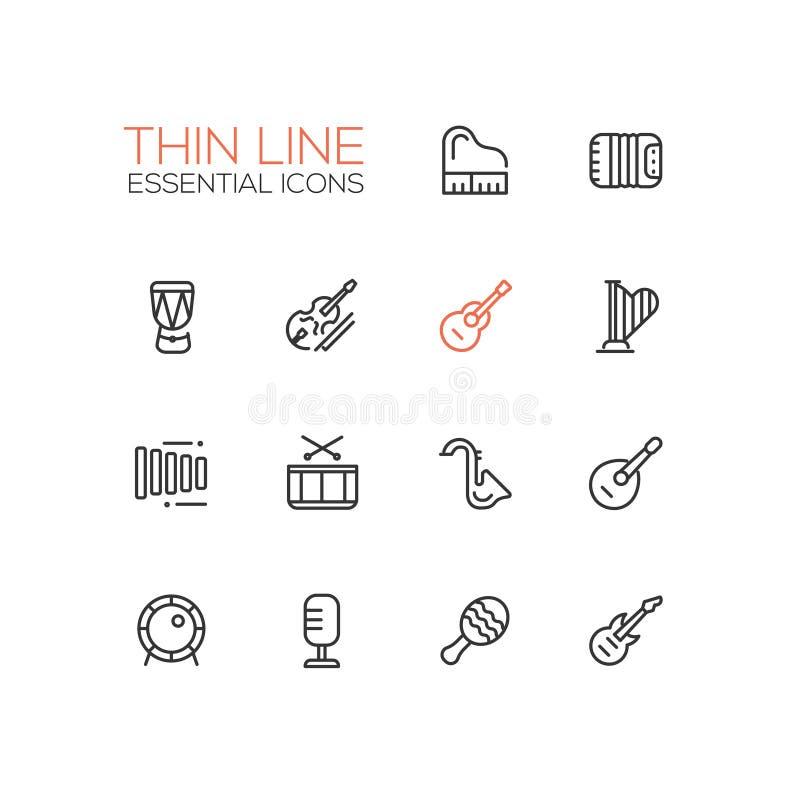 Instruments de musique - ligne icônes réglées illustration stock