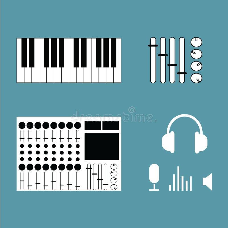 Instruments de musique réglés de l'illustration de vecteur d'icônes Studio de musique illustration libre de droits