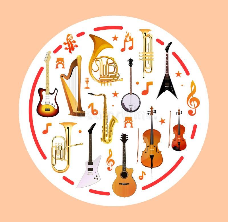 Instruments de musique sur la forme ronde Illustration de vecteur illustration stock