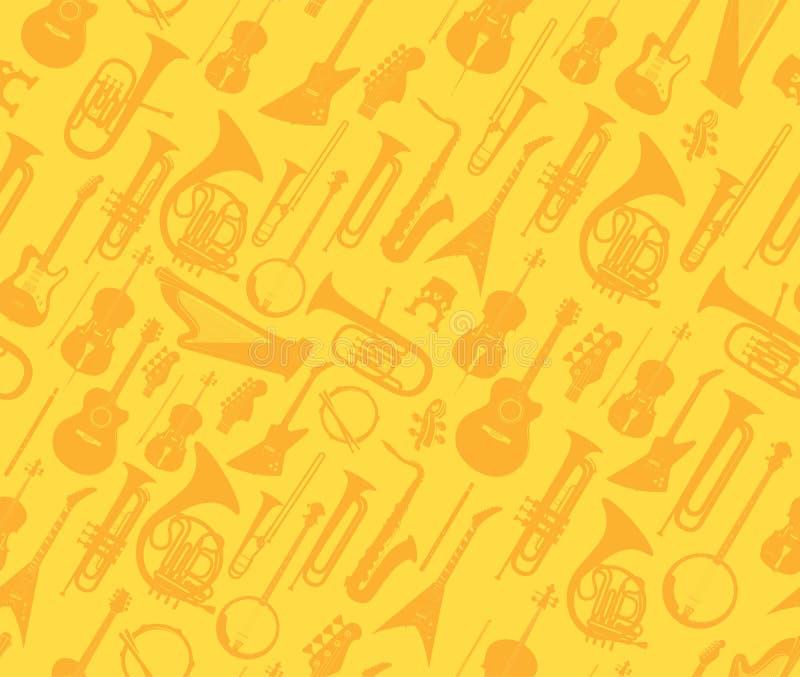 Instruments de musique de vecteur sur le modèle sans couture d'or illustration de vecteur
