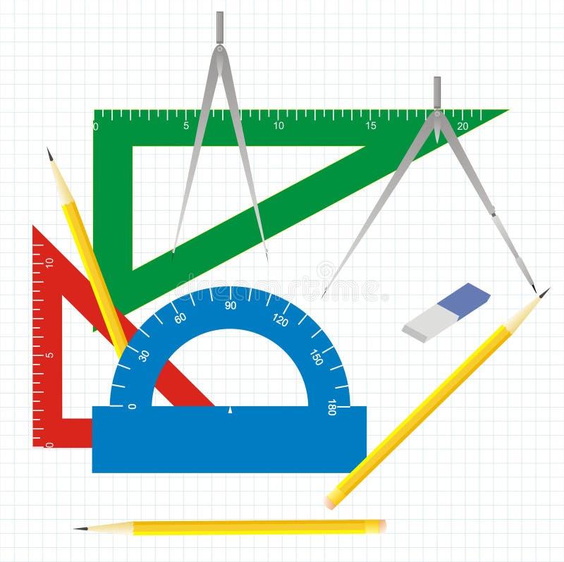 Instruments de retrait de la géométrie illustration libre de droits