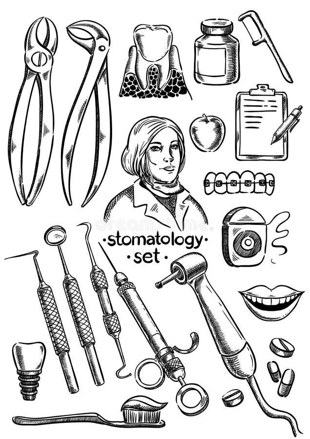 Instruments et équipement dentaires illustration de vecteur