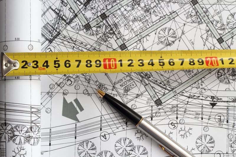 Instruments et plans d'ingénierie photos stock
