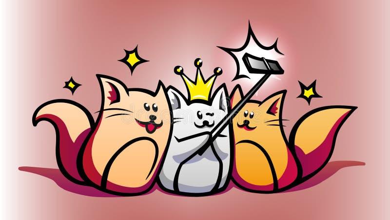 Instruments intelligents et chats mignons de bande dessinée photo stock