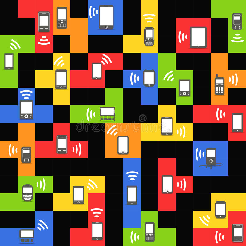 Instruments mobiles modernes et de cru sur des blocs de couleur illustration stock