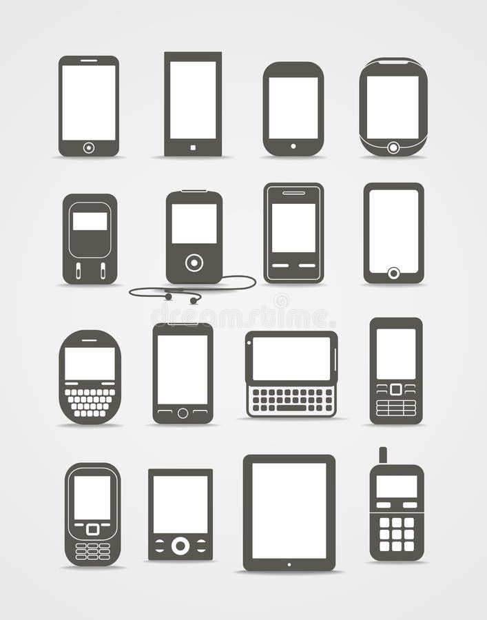 Instruments modernes et de cru de mobile illustration stock
