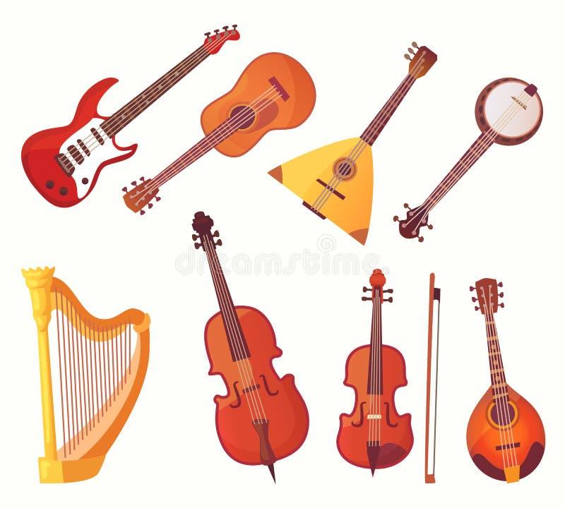 Instruments musicaux de dessin animé Collection de vecteur d'instrument de musique de guitares illustration stock
