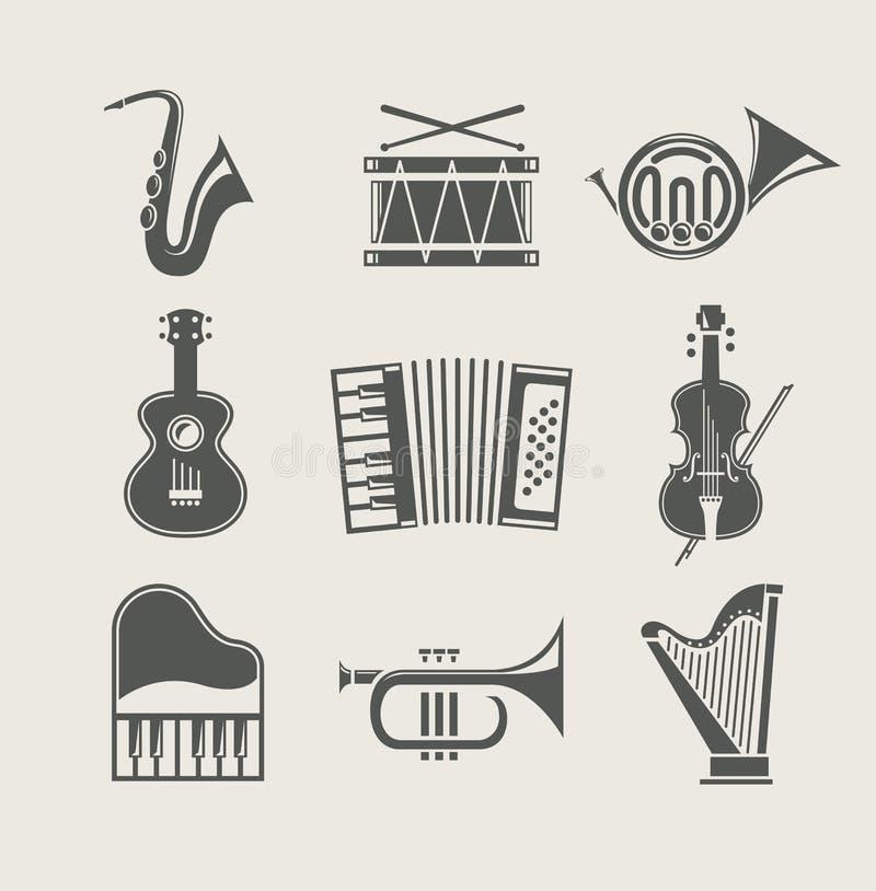 Instruments musicaux réglés des graphismes illustration libre de droits