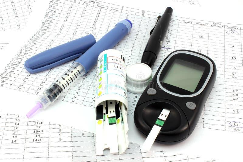 Instruments pour surveiller des niveaux de glucose photographie stock