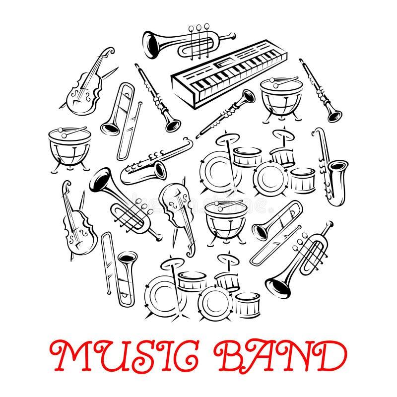 Instruments sains esquissés pour la bande musicale illustration stock