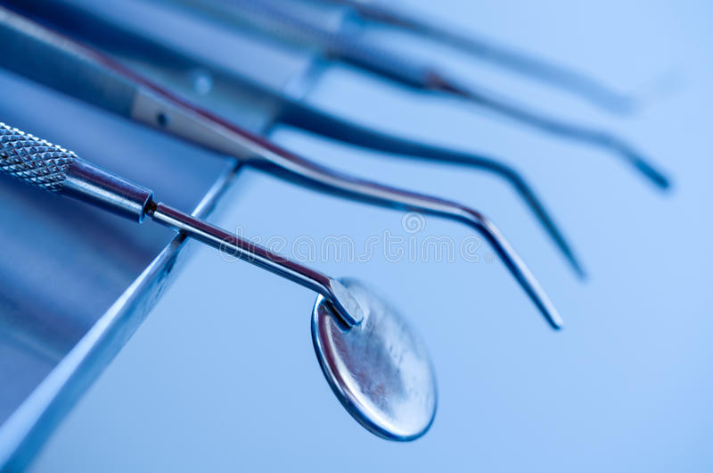 Instruments for stomatology stock photography