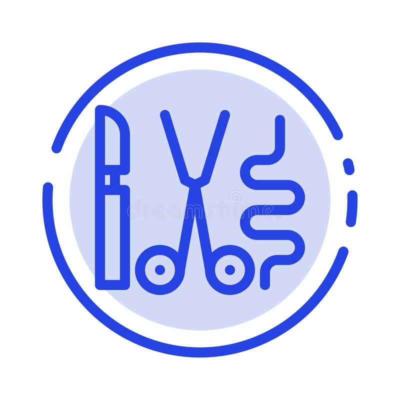 Instruments, Surgery, Tools, Medical Blue Dotted Line Line Icon stock illustration