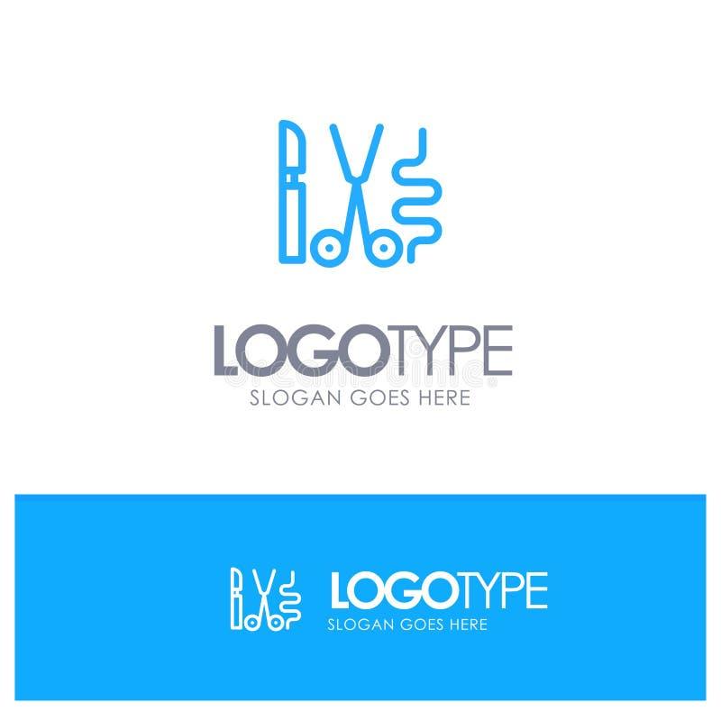 Instruments, Surgery, Tools, Medical Blue Outline Logo Place for Tagline vector illustration