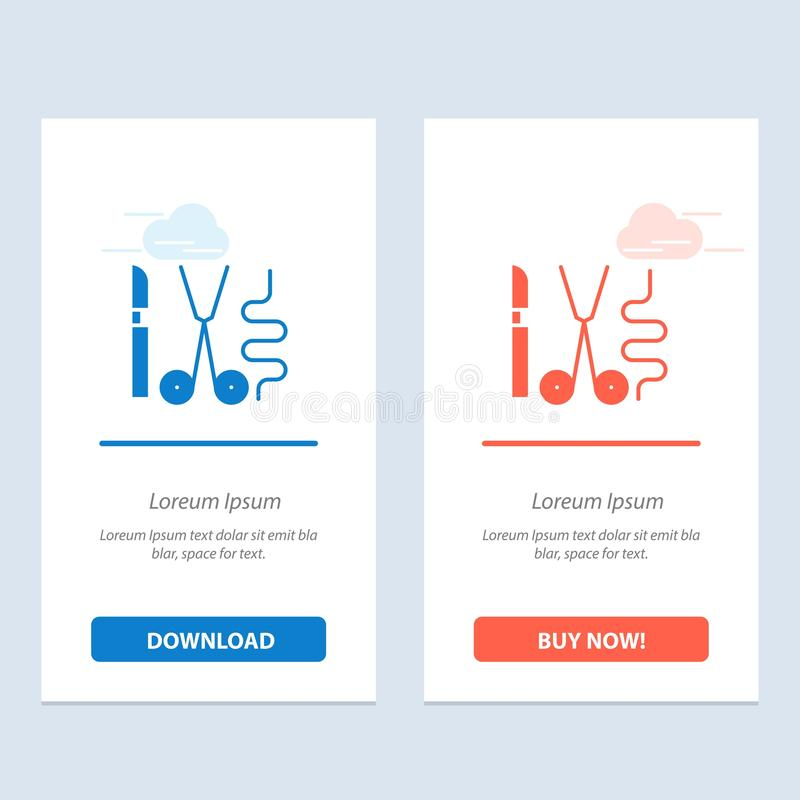 Instruments, Surgery, Tools, Medical  Blue and Red Download and Buy Now web Widget Card Template vector illustration