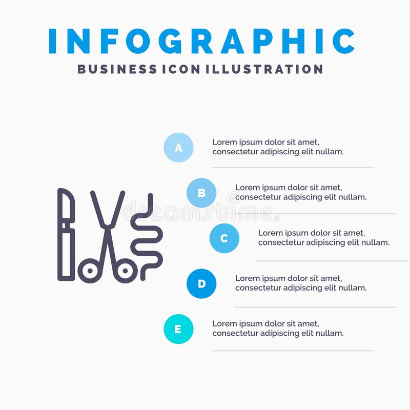 Instruments, Surgery, Tools, Medical Line icon with 5 steps presentation infographics Background royalty free illustration