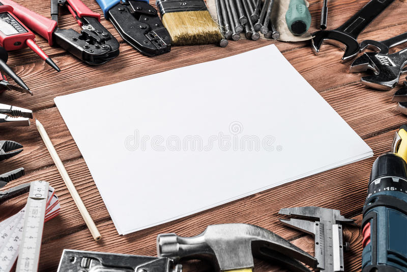 Instruments on wooden table stock image