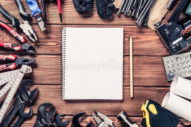 Instruments on wooden table stock photo