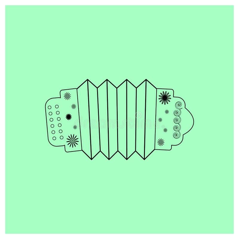 Instrumentu muzycznego akordeon z kwiecistym ornamentem Ludowa Rosyjska muzyka Czarna Konturowa przedmiot harmonijka odizolowywaj royalty ilustracja