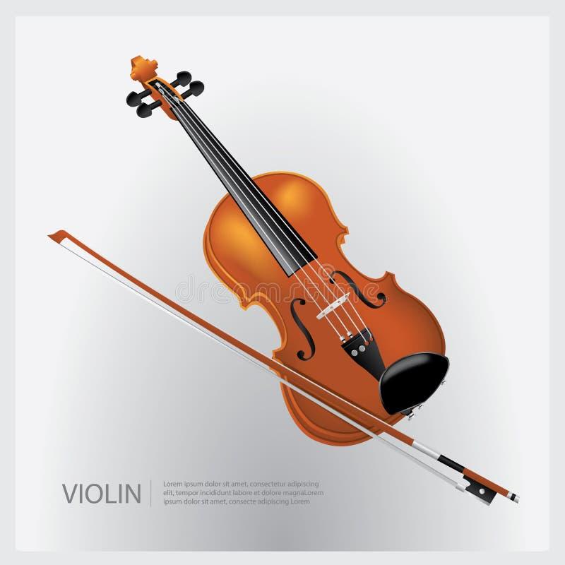 Instrumentu muzycznego realistyczny skrzypce z skrzypki kijem ilustracja wektor