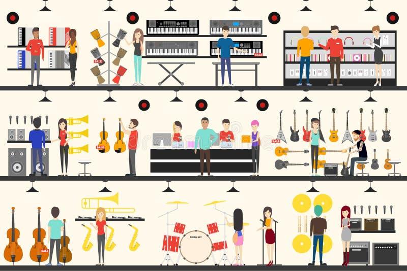 Instrumentu muzycznego sklep ilustracja wektor