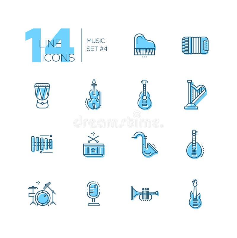 Instrumenty Muzyczni - kreskowe ikony ustawiać ilustracji