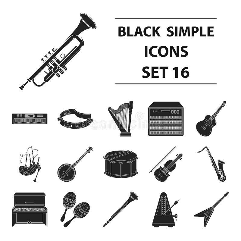 Instrumenty muzyczni ustawiają ikony w czerń stylu Duża kolekcja instrumentu muzycznego symbolu zapasu wektorowa ilustracja royalty ilustracja